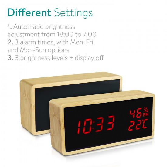 Kwmobile Digital Alarm LED Clock - Ψηφιακό Επιτραπέζιο Ρολόι και Ξυπνητήρι - Light Brown - Red LED - 47632.24.09
