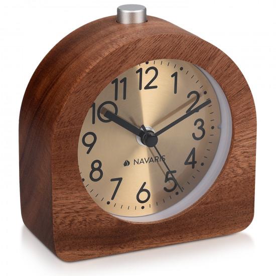 Navaris Analogue Wood Alarm Clock Design Half Round - Αναλογικό Επιτραπέζιο Ρολόι και Ξυπνητήρι - Gold / Dark Brown - 46228.18