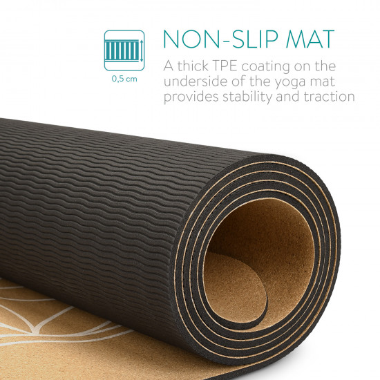 Navaris Workout Mat Στρώμα Γυμναστικής από Φελλό με Χειρολαβή Design Flower of Life - Brown - 44764.24