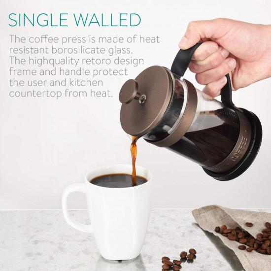 Navaris French Press Coffee Maker Γαλλική Καφετιέρα - Brown - 46547.01.01