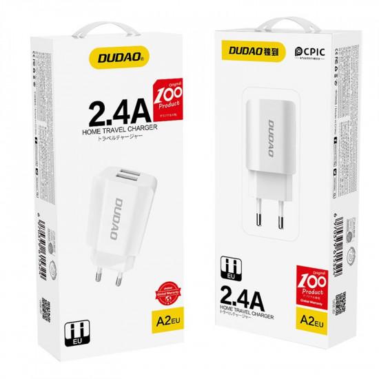 Dudao Dual Port USB 2.4A Charger - Οικιακός Φορτιστής 2.4A με 2 Θύρες USB - Λευκό - A2EU