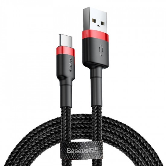 Baseus Cafule Cable Type-C 2A - Καλώδιο Δεδομένων και Φόρτισης Type-C 2M - Black / Red - CATKLF-C91
