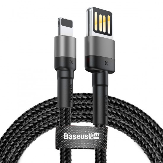 Baseus Cafule Cable Special Edition Lightning 2.4A - Καλώδιο Δεδομένων και Φόρτισης Lightning 1M για iPhone - Black / Grey - CALKLF-GG1