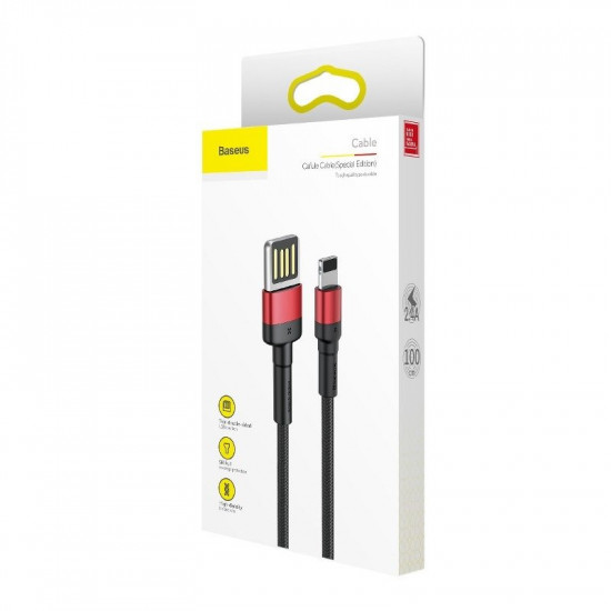 Baseus Cafule Cable Special Edition Lightning 1.5A - Καλώδιο Δεδομένων και Φόρτισης Lightning 2M για iPhone - Black / Red - CALKLF-H91