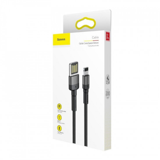 Baseus Cafule Cable Special Edition Lightning 1.5A - Καλώδιο Δεδομένων και Φόρτισης Lightning 2M για iPhone - Black / Grey - CALKLF-HG1