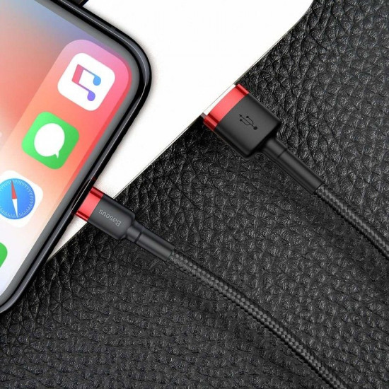 Baseus Cafule Cable Lightning 2.4A - Καλώδιο Δεδομένων και Φόρτισης Lightning 1M για iPhone - Black / Red - CALKLF-B19