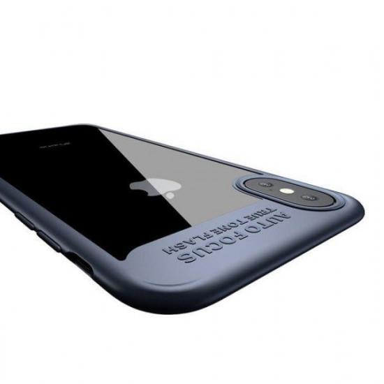 Baseus Apple iPhone X / XS Suthin Σκληρή Θήκη με Πλαίσιο Σιλικόνης - Navy Blue / Διάφανη - ARAPIPHX-SB15