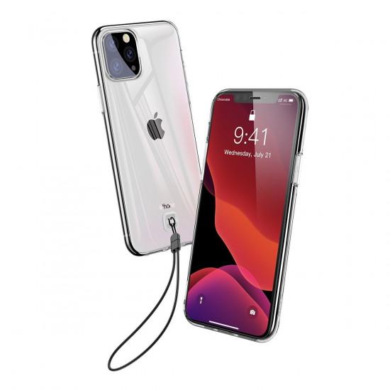 Baseus Apple iPhone 11 Pro Transparent Key Θήκη Σιλικόνης με Λουράκι - Διάφανη - WIAPIPH58S-QA02