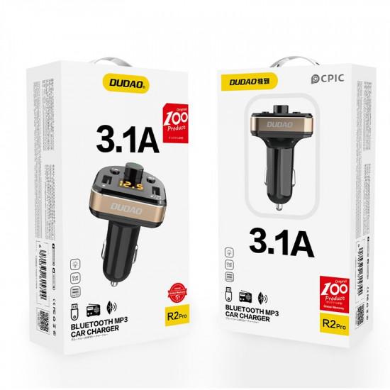 Dudao R2Pro FM Transmitter για Αναπαραγωγή Μουσικής / Κλήσεις / Φόρτιση Κινητών στο Αυτοκίνητο - Black