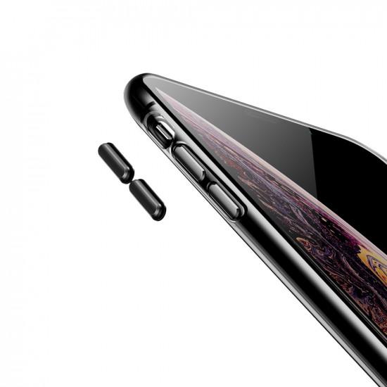 Baseus Apple iPhone XS Max Transparent Key Θήκη Σιλικόνης με Λουράκι - Black / Διάφανη - WIAPIPH65-QA01