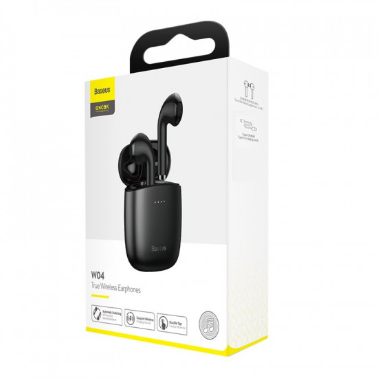 Baseus W04 Wireless Earphones Bluetooth 5.0 - Ασύρματα ακουστικά για Κλήσεις / Μουσική - Black - NGW04-01