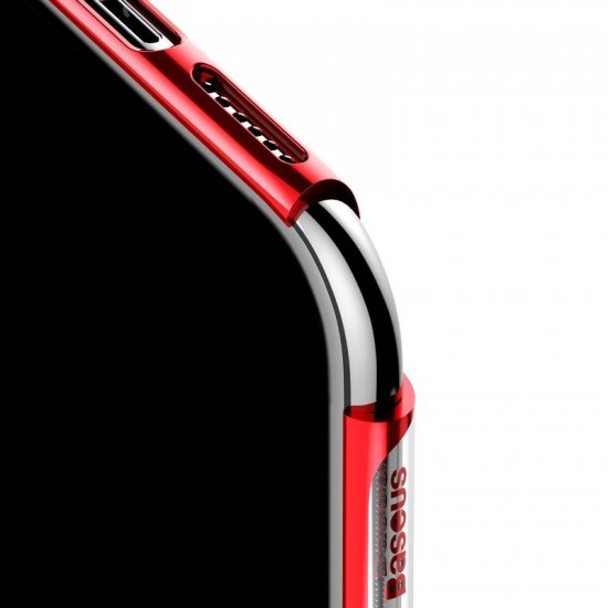 Baseus Apple iPhone 11 Shining Case - Θήκη Σιλικόνης - Clear / Red - ARAPIPH61S-MD09