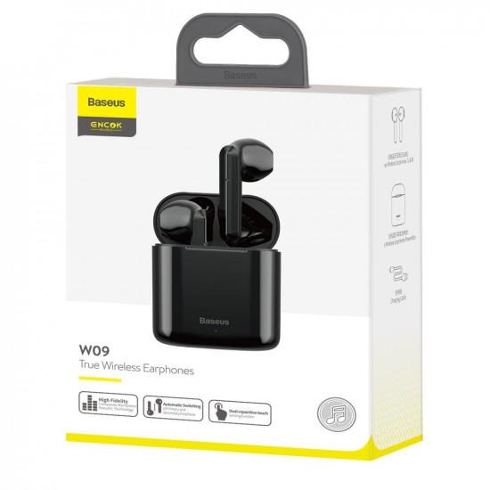 Baseus Encok W09 Mini Wireless Earphones Bluetooth 5.0 - Ασύρματα ακουστικά για Κλήσεις / Μουσική - Black - NGW09-01