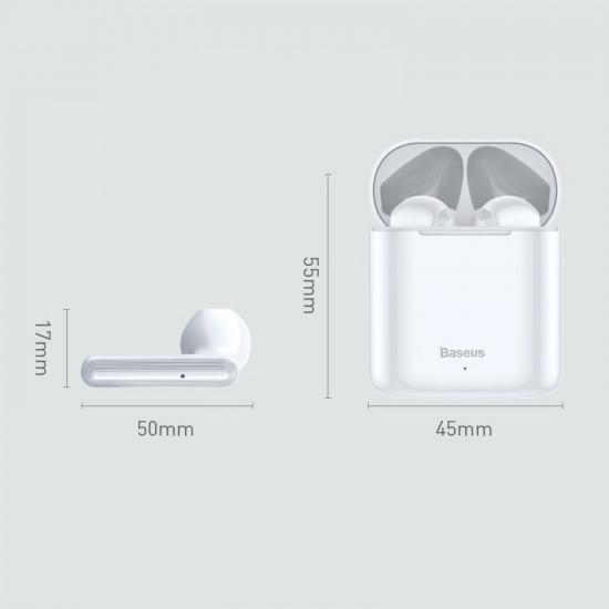 Baseus Encok W09 Mini Wireless Earphones Bluetooth 5.0 - Ασύρματα ακουστικά για Κλήσεις / Μουσική - White - NGW09-02