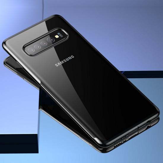 Baseus Samsung Galaxy S10 Plus Shining Case - Θήκη Σιλικόνης - Clear / Black - ARSAS10P-MD01