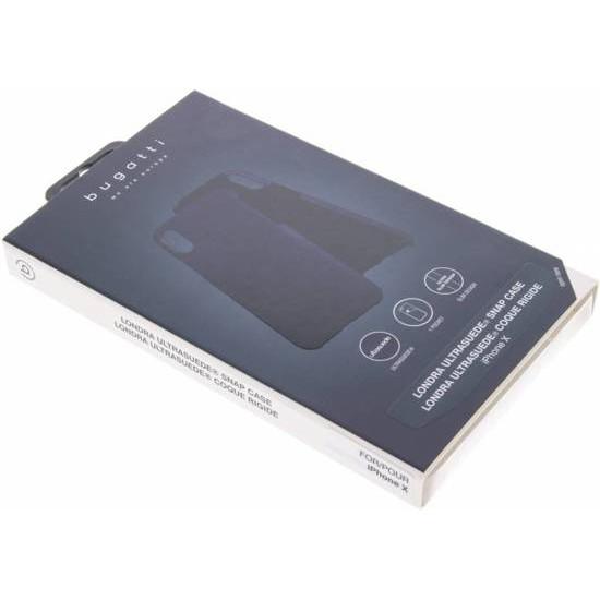 Bugatti Apple iPhone X / XS Londra Ultrasuede Θήκη από Γνήσιο Δέρμα με Υποδοχή για Κάρτα - Blue