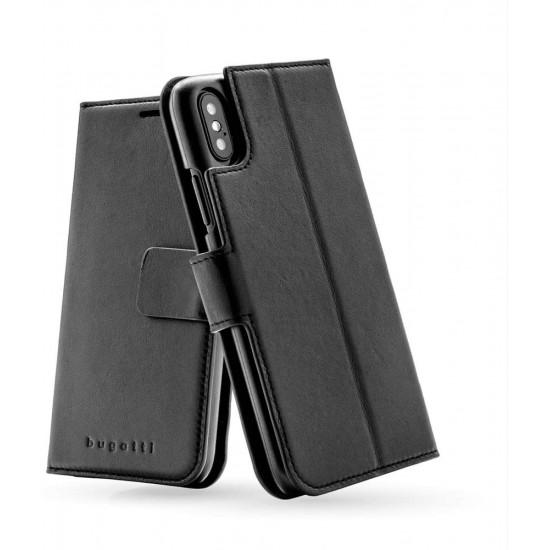 Bugatti Apple iPhone X / XS Zurigo Θήκη Πορτοφόλι Stand από Γνήσιο Δέρμα - Black