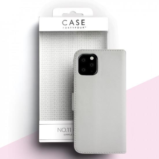 Case FortyFour Apple iPhone 11 Pro No.11 PU Leather Θήκη Πορτοφόλι Stand από Συνθετικό Δέρμα - Cross Grain White