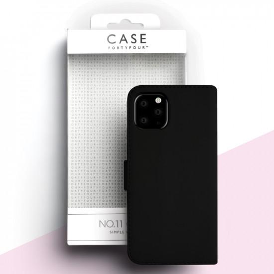 Case FortyFour Apple iPhone 11 Pro Max No.11 PU Leather Θήκη Πορτοφόλι Stand από Συνθετικό Δέρμα - Cross Grain Black