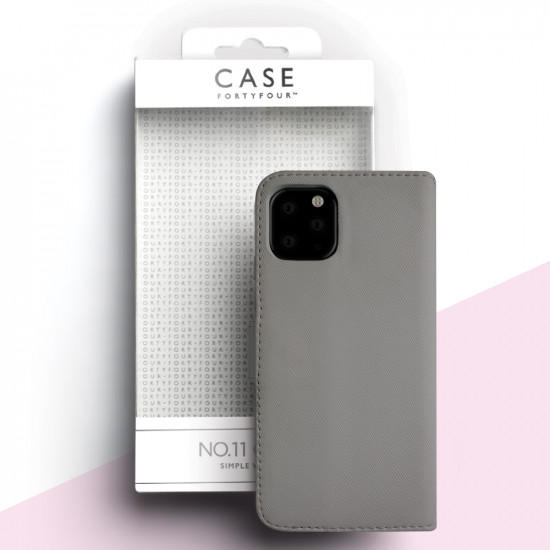 Case FortyFour Apple iPhone 11 Pro Max No.11 PU Leather Θήκη Πορτοφόλι Stand από Συνθετικό Δέρμα - Cross Grain Stone