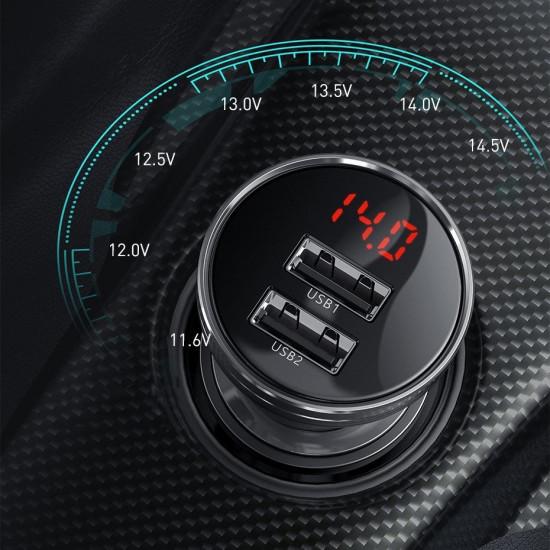 Baseus Digital Display Φορτιστής Αυτοκινήτου 4.8A με Δύο Θύρες USB και Καλώδιο Lightning / Type-C / Micro USB - Black - TZCCBX-0G