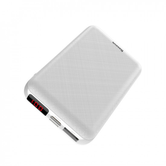 Baseus Mini S Digital PD Quick Charge External Battery Power Bank 10000mAh 3A for Smartphones - White - PPALL-XF02