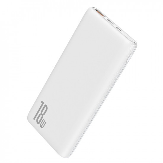 Baseus Bipow PD Quick Charge 3.0 External Battery Power Bank 10000mAh 3A USB and Type C for Smartphones - White - PPDML-02