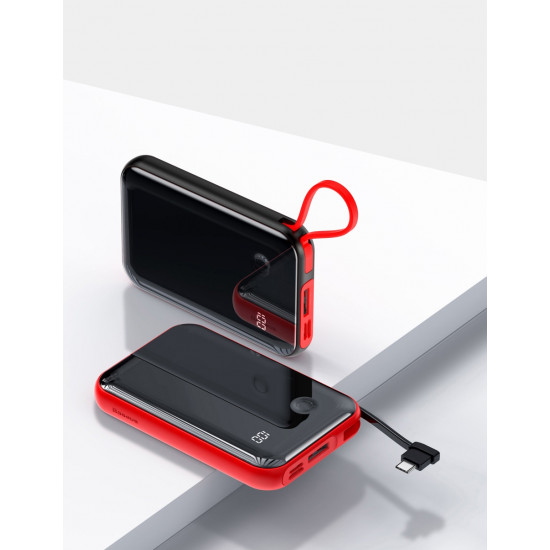 Baseus Mini S Digital External Battery Power Bank 10000mAh 3A με Καλώδιο Lightning - Red - PPXF-B09