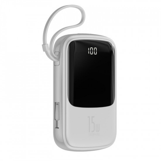 Baseus Q Pow Digital External Battery Power Bank 10000mAh 3A με Καλώδιο Type-C - White - PPQD-A02