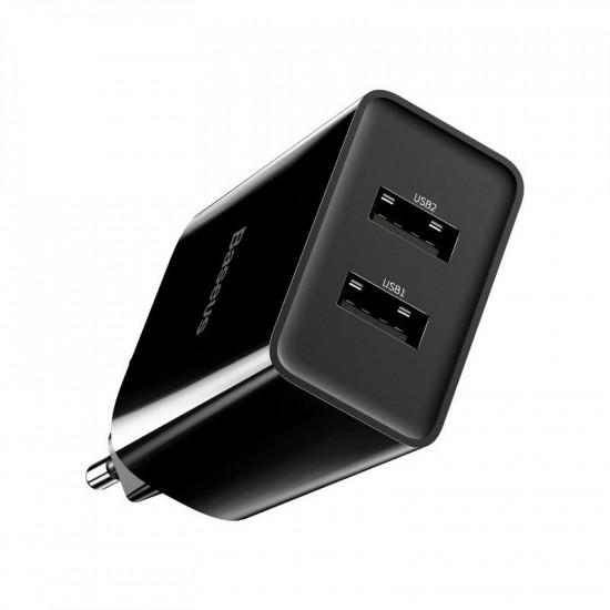 Baseus Speed Mini Dual-U Charger - Οικιακός Φορτιστής 2.1A με 2 Θύρες USB - Black - CCFS-R01