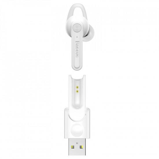 Baseus Magnetic Bluetooth Earphone - Ασύρματο ακουστικό με Μαγνητική Βάση Φόρτισης - White - NGCX-02