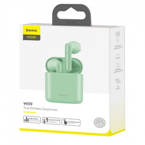 Baseus Encok W09 Mini Wireless Earphones Bluetooth 5.0 - Ασύρματα ακουστικά για Κλήσεις / Μουσική - Green - NGW09-06