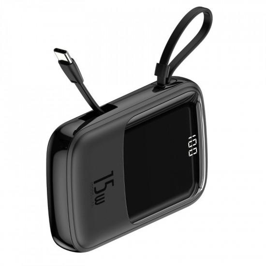 Baseus Q Pow Digital External Battery Power Bank 10000mAh 3A με Καλώδιο Type-C - Black - PPQD-A01
