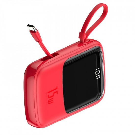 Baseus Q Pow Digital External Battery Power Bank 10000mAh 3A με Καλώδιο Type-C - Red - PPQD-A09