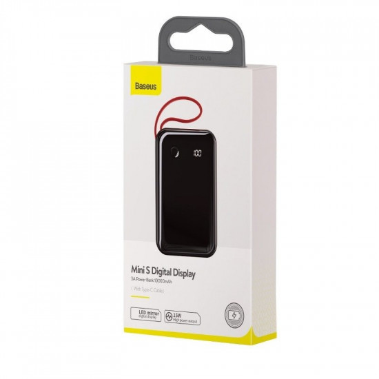 Baseus Mini S Digital External Battery Power Bank 10000mAh 3A με Καλώδιο Type C - Black - PPXF-A01