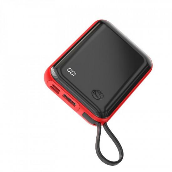 Baseus Mini S Digital External Battery Power Bank 10000mAh 3A με Καλώδιο Type C - Red - PPXF-A09
