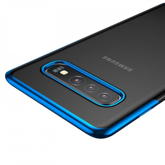 Baseus Samsung Galaxy S10 Plus Shining Case - Θήκη Σιλικόνης - Clear / Blue - ARSAS10P-MD03