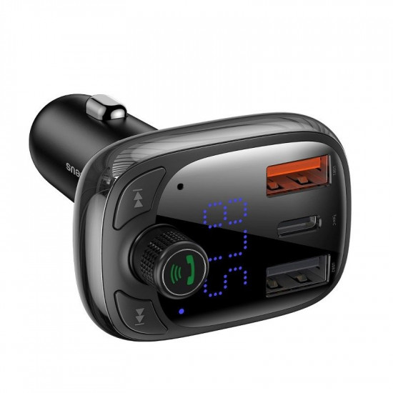 Baseus T Typed S-13 Car FM Transmitter για Αναπαραγωγή Μουσικής / Handsfree Κλήσεις / Φόρτιση Κινητών στο Αυτοκίνητο PD QC 3.0 - Black - CCTM-B01