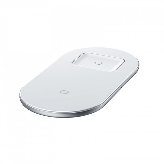 Baseus Simple 2in1 Wireless Charger for Smartphones - Ασύρματος Φορτιστής Qi Charge 15W - White - WXJK-02