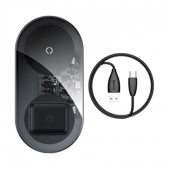 Baseus Simple 2in1 Wireless Charger for Smartphones - Ασύρματος Φορτιστής Qi Charge 15W - Μαύρο / Διάφανο - WXJK-A01