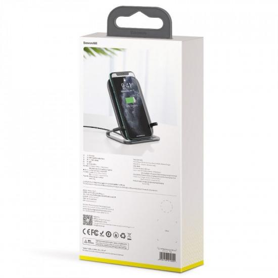 Baseus Rib Horizontal and Vertical Holder Wireless Charging 15W - Βάση Ασύρματη Φόρτισης Qi Charge - Μαύρο - WXPG-01