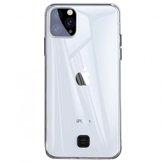 Baseus Apple iPhone 11 Pro Max Transparent Key Θήκη Σιλικόνης με Λουράκι - Διάφανη - Black - WIAPIPH65S-QA01