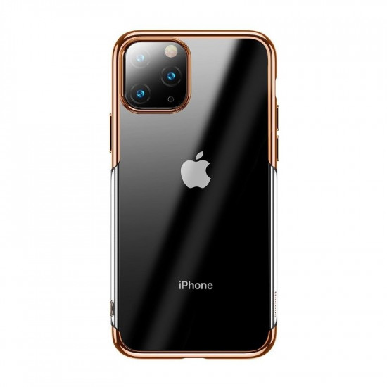 Baseus Apple iPhone 11 Pro Max Shining Case - Θήκη Σιλικόνης - Clear / Gold - ARAPIPH65S-MD0V