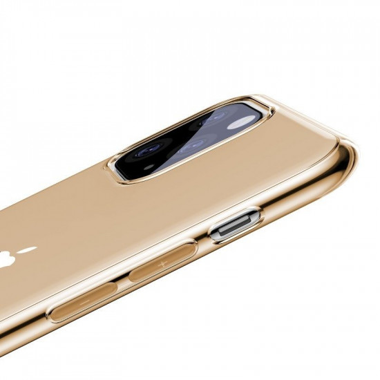 Baseus Simplicity TPU Case for Apple iPhone 11 Pro Max - Clear - Gold - ARAPIPH65S-0V