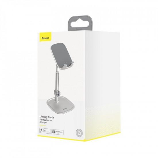 Baseus Literary Youth Desktop Bracket Telescopic Mobile Stand Βάση Στήριξης Κινητών - Silver - SUWY-A0S