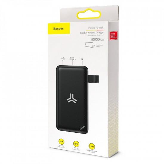 Baseus S10 Bracket 10W Wireless Charger Power Bank 10000mAh 2.4Α με 1 Θύρα USB, 1 Θύρα Type-C και Ασύρματη Φόρτιση QI - Black - PPS10-01