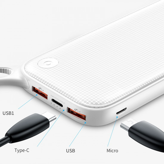 Baseus Powerful PD Quick Charge 3.0 External Battery Power Bank 20000mAh 3A 2xUSB and Type C for Smartphones - White - PPKC-A02