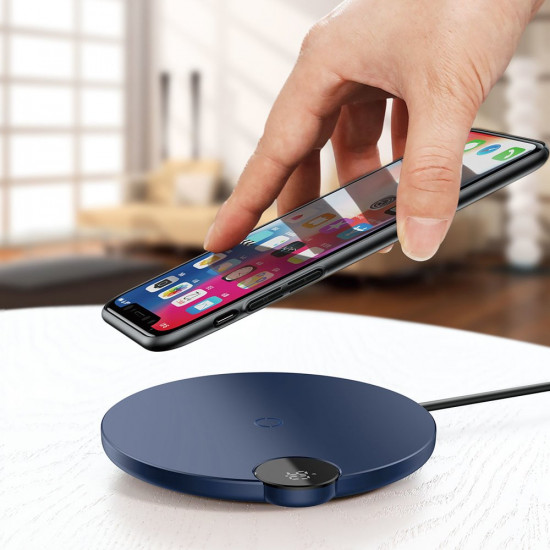 Baseus Digital LED Display Wireless Charger 10W for Smartphones - Ασύρματος Φορτιστής Qi Charge με Καλώδιο Lightning - Dark Blue - WXSX-03