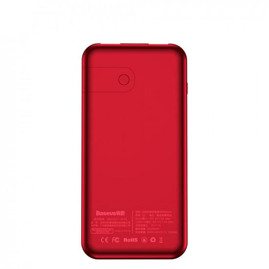 Baseus Bracket Wireless Charger Power Bank 8000mAh με 2 Θύρες USB και Ασύρματη Φόρτιση QI - Red - PPALL-EX09