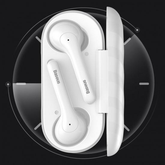 Baseus Encok W07 Mini Wireless Earphones Bluetooth 5.0 - Ασύρματα ακουστικά για Κλήσεις / Μουσική - White - NGW07-02